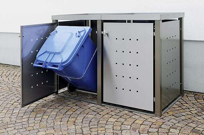 Müllbehälter-Doppelschrank TORRANCE, komplett in Edelstahl, mit Kippvorrichtung