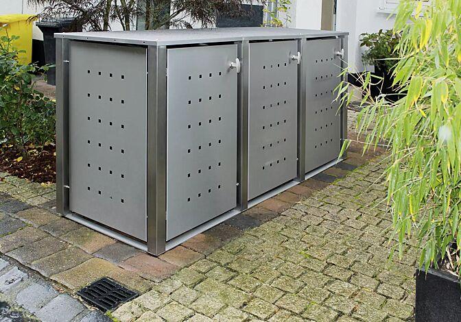Müllbehälter-Dreifachschrank TORRANCE, komplett in Edelstahl