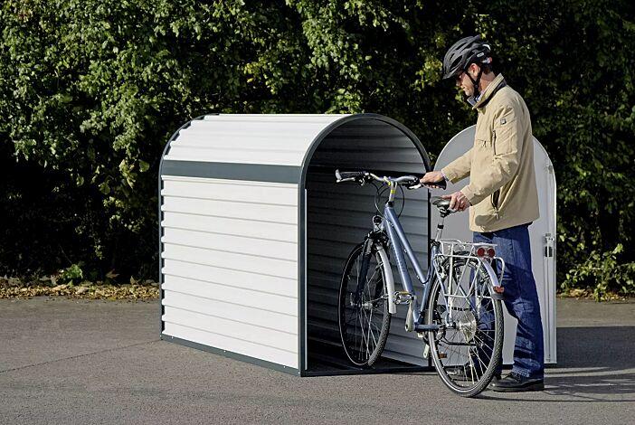 Fahrradgarage METIS inklusive Einfahrschiene zum bequemen Einstellen des Fahrrades
