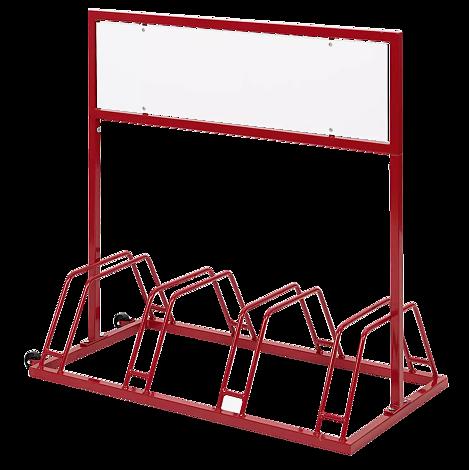 Werbe-Fahrradständer AKRON, in RAL 3000 feuerrot
