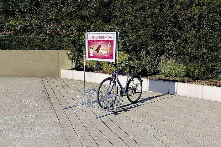 Werbe-Fahrradständer ROCKFORD, mit wasserdichtem Alu-Klapprahmen, 6 Stellplätze, galvanisch verzinkt