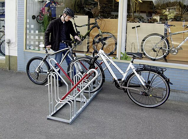 Fahrradständer OAKLAND mit Anlehnbügel, doppelseitig, 4 Stellplätze, feuerverzinkt