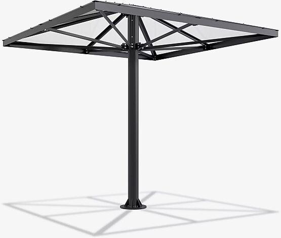 Raucherunterstand FUMAT, 4-eckig, Dachbreite x Dachtiefe 3027 mm x 3027 mm, Stahlkonstruktion in RAL 7016 anthrazitgrau