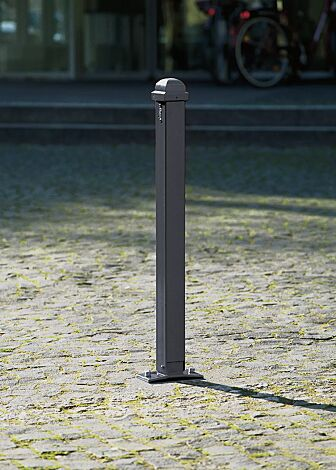 Poller NAVARRA, abschließbar und kippbar, zum Aufdübeln mit Bodenplatte, in RAL 7016 anthrazitgrau
