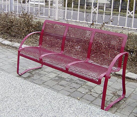 Sitzbank MODICA, 3-Sitzer, in RAL 4005 blaulila (Sonderfarbe auf Anfrage)
