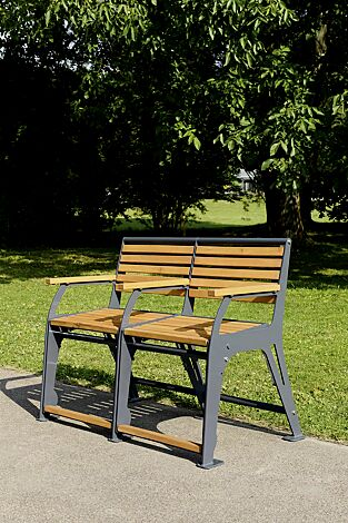 Sitzbank EASY GO-SENIOR, 2-Sitzer, Stahlteile in RAL 7022 umbragrau