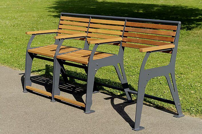 Sitzbank EASY GO-SENIOR, 2-Sitzer + Rollatorstellplatz, Stahlteile in RAL 7022 umbragrau