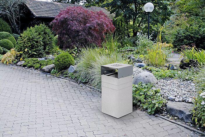 Abfallbehälter BRNO mit Ascher, mit Schutzdach