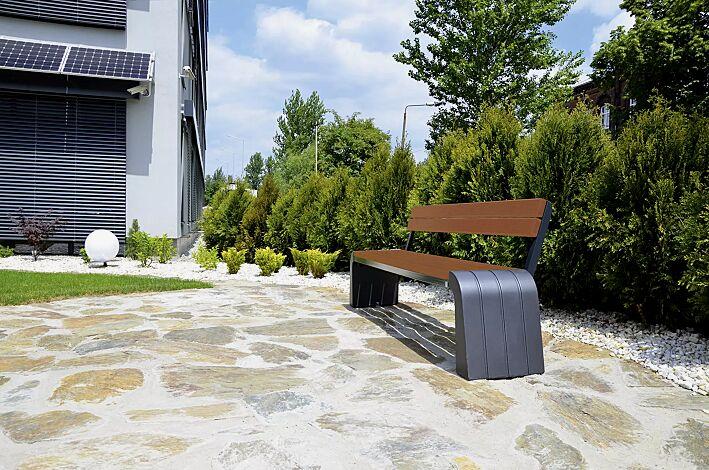 Sitzbank VEGA mit Rückenlehne, Stahlteile in RAL 7021 schwarzgrau, Beton beschichtet in Farbe graphit