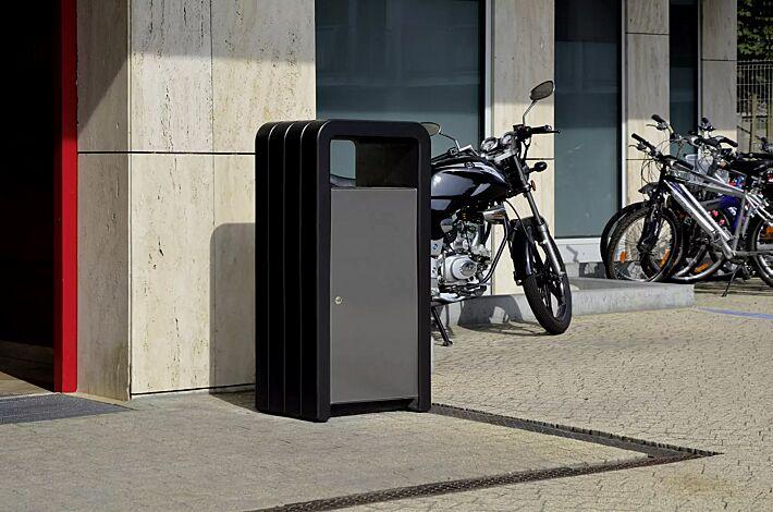 Abfallbehälter VEGA mit Ascher, mit Schutzdach, Beton in graphit, Stahlteile in RAL 9007 graualuminium