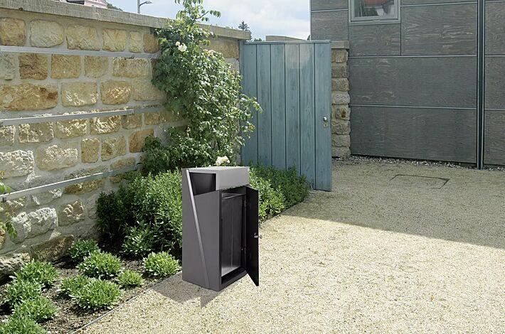 Abfallbehälter INTAL mit Ascher, Schutzdach und Tür in RAL9007 graualuminium, Beton in graphit