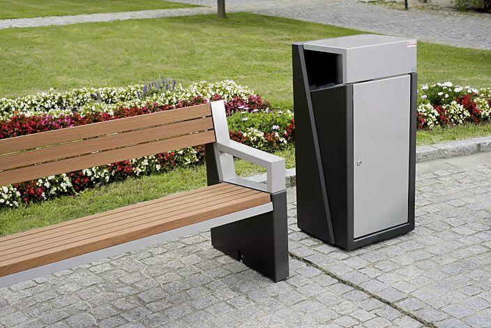 Abfallbehälter INTAL mit Ascher, Schutzdach und Tür in RAL 9007 graualuminium, Beton in graphit