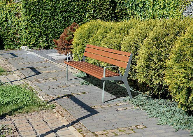 Sitzbank FLOWING mit Rückenlehne und Armlehnen