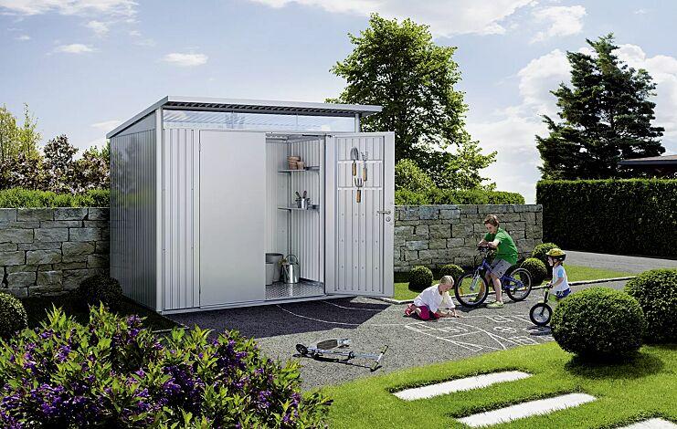 Gerätehaus AVANTGARDE®, Modell 5, in silber-metallic, mit zweiflügeliger Tür, Aluminium-Bodenrahmen und -Bodenplatte