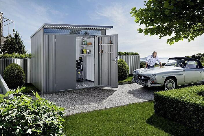 Gerätehaus AVANTGARDE®, Modell 5, in quarzgrau-metallic, mit zweiflügeliger Tür, Aluminium-Bodenrahmen und -Bodenplatte