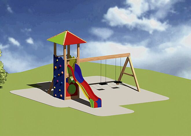 Spielturmkombination RAPUNZEL mit farbigem Spitzdach (Standardausführung)