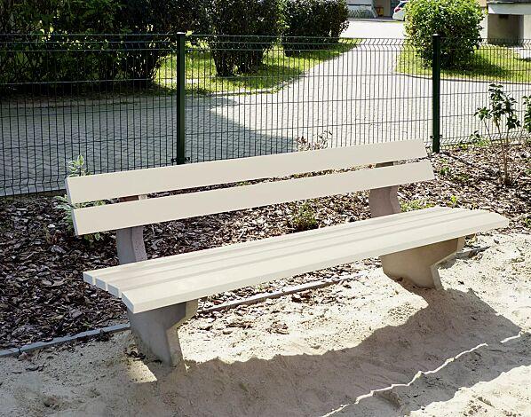 Sitzbank SICILIA mit PVC-Leisten (Stahleinlage) in cremeweiß ähnlich RAL 9001