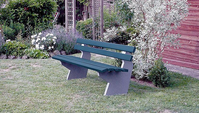 Sitzbank BOLZANO mit Rückenlehne, Recycling-Kunststofflatten in grün