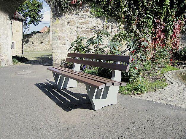 Sitzbank CATANIA, zum freien Aufstellen, Recycling-Kunststofflatten in mahagonibraun