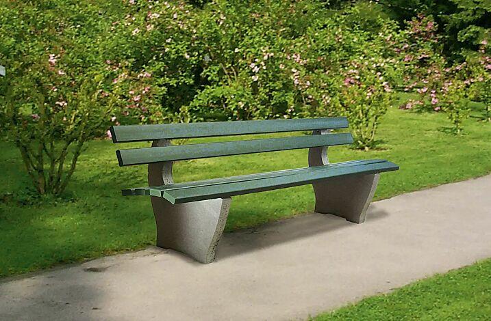 Sitzbank CATANIA, frei aufstellbar, Recycling- Kunststofflatten in grün