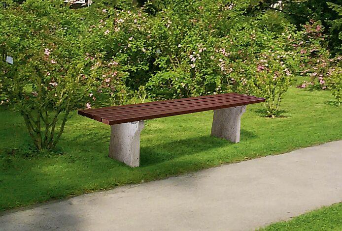 Sitzbank REIMS ohne Rückenlehne, Recycling-Kunststofflatten in braun