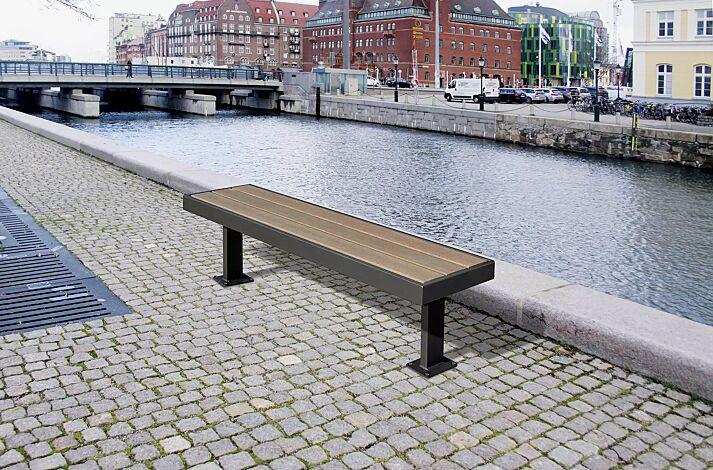Sitzbank PRASEM ohne Rückenlehne, mit WPC-Holzbelattung, Stahlteile in RAL 7016 anthrazitgrau