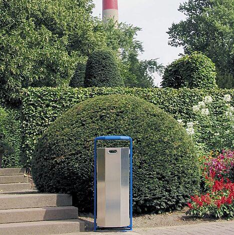 Abfallbehälter KENT, Behälter aus Aluminium, Rahmen aus Stahl in RAL 5015 himmelblau