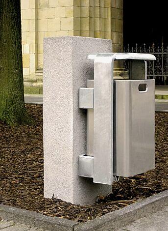 Abfallbehälter SHIPLEY, zur Wandbefestigung, Behälter aus Aluminium geschliffen, Rahmen aus Stahl feuerverzinkt