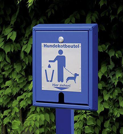 Hundekotbeutelspender RETRIEVER mit Pfosten zum Einbetonieren, in RAL 5002 ultramarinblau