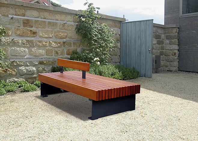 Sitzbank PESCARA doppelseitig, mit Rückenlehne, mit Merantiholzbelattung, Stahlteile in RAL 7016 anthrazitgrau