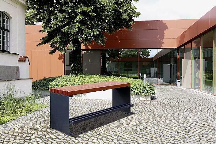 Tisch PESCARA, zum Aufdübeln, mit Merantiholzbelattung, Stahlteile in RAL 7016 anthrazitgrau