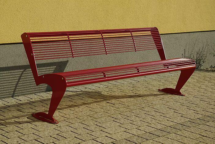 Sitzbank ALBATROS mit Rückenlehne, in RAL 3000 feuerrot