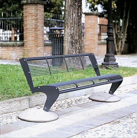 Sitzbank ALBATROS mit Rückenlehne und Füßen aus Beton, Stahlteile in RAL 7016 anthrazitgrau