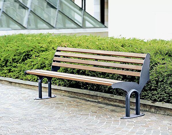 Sitzbank TAURUS  mit Rückenlehne, Stahlteile in RAL 7016 anthrazitgrau