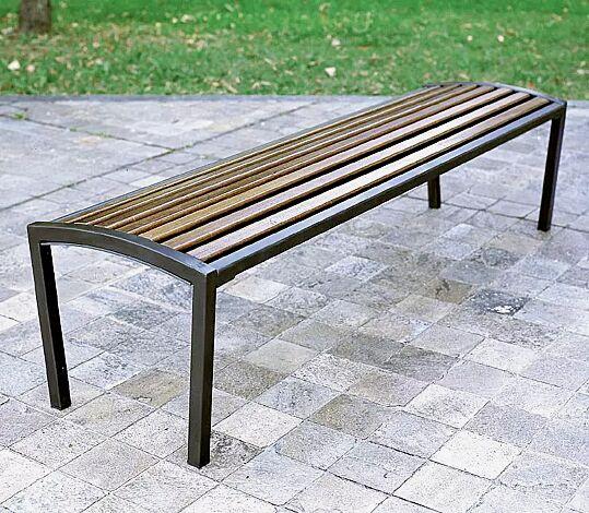 Sitzbank CAMILLA ohne Rückenlehne, mit Holzbelattung, Stahlteile in RAL 7016 anthrazitgrau