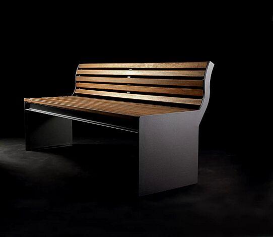 Sitzbank CIMA mit Rückenlehne, mit Sapeliholzbelattung, Stahlteile in RAL 7016 anthrazitgrau
