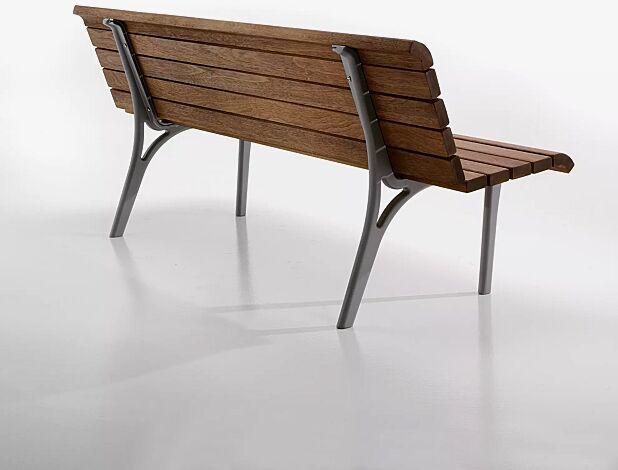 Sitzbank MONET mit Holzbelattung, mit Rückenlehne, Stahlteile in eisenglimmergrau