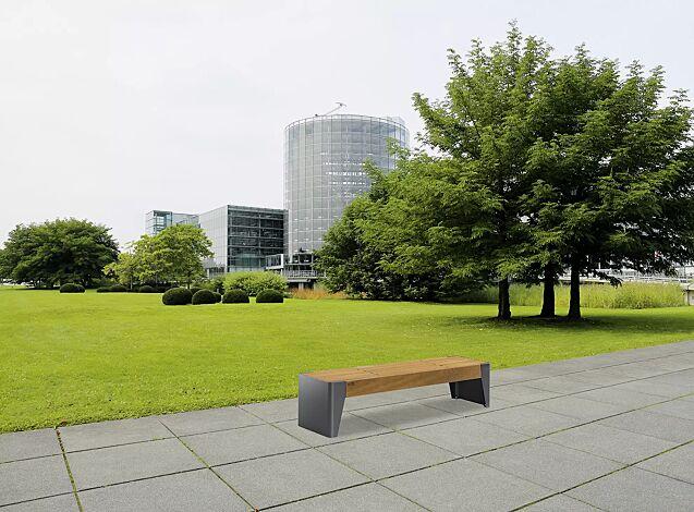 Sitzbank FOLA ohne Rückenlehne, Stahlteile in eisenglimmergrau