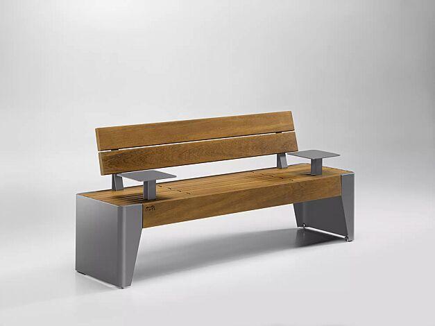 Sitzbank FOLA mit Rückenlehne und Ablagetischen, Stahlteile in RAL 9007 graualuminium
