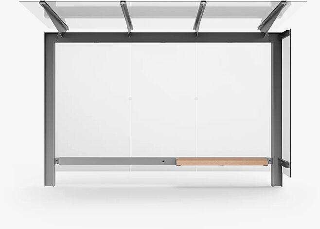 Wartehalle STINGRAY, Dachbreite x Dachtiefe 3375 mm x 1498 mm, Rück- und Seitenwand ESG, Klarglas, inklusive Sitzbank, Stahlkonstruktion in RAL 9006<br /><br />Wartehalle STINGRAY, Dachbreite x Dachtiefe 3375 mm x 1498 mm, Stahlkonstruktion feuerverzinkt und pulverbeschichtet inkl. Rück- und Seitenwand ESG, Klarglas, inklusive Sitzbank