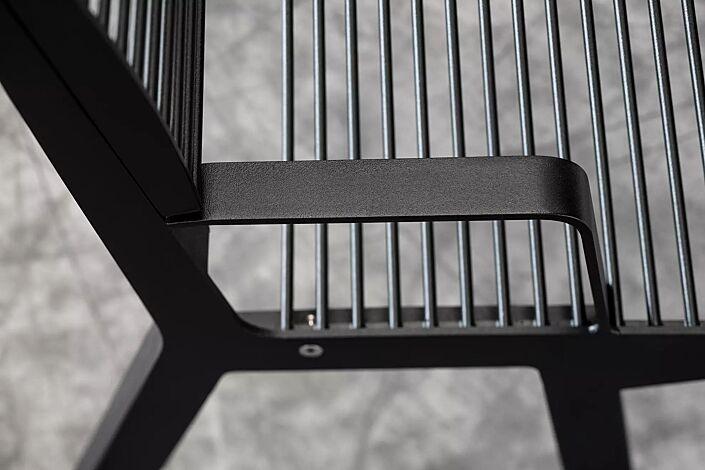 Sitzbank NOALE mit Rückenlehne und Armlehnen, in RAL 9005 tiefschwarz