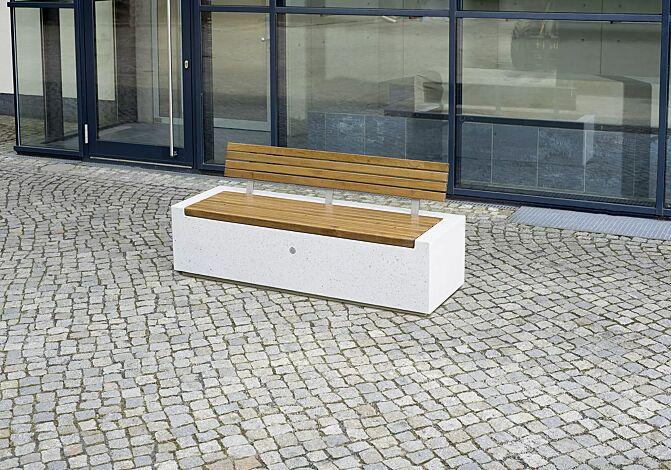 Sitzbank DEMETRA mit Rückenlehne aus Beton gestockt, mit Okouméholzbelattung, in Granitoptik weiß<br>