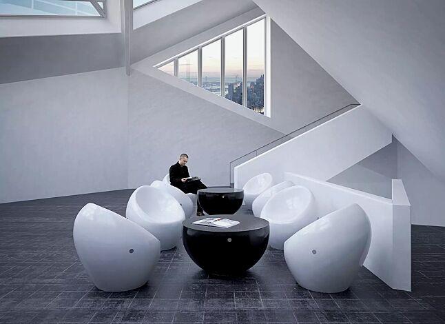 Sitze CUDDLY zum freien Aufstellen, aus Beton, in RAL 9010 reinweiß und Tisch FAMILY zum freien Aufstellen, aus Beton, in RAL 9005 tiefschwarz