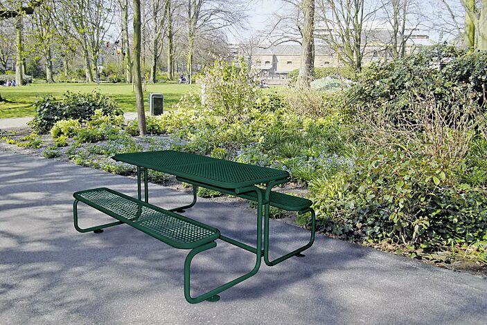Bank-Tisch-Kombination CAMPO in RAL 6005 moosgrün