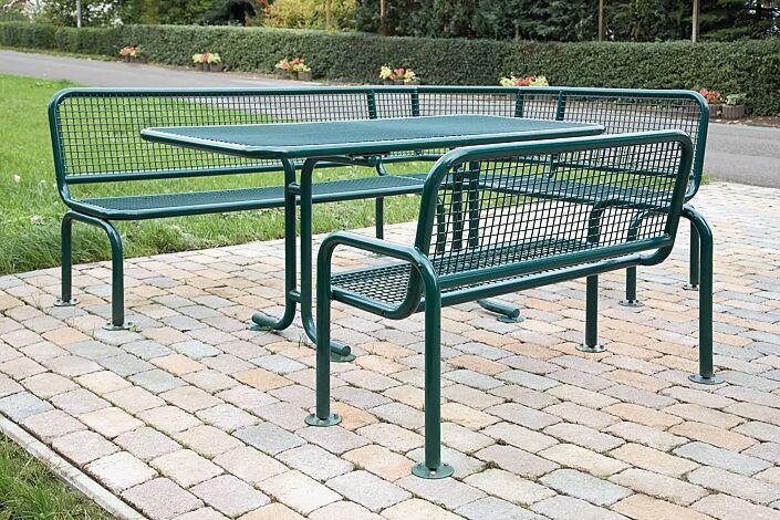 Bank-Tisch-Kombination RIMINI bestehend aus Tisch, Eckbank und Sitzbank mit Rücken- und Armlehnen, in RAL 6005 moosgrün