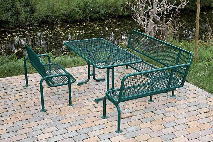 Kombinationsvorschlag: Bank-Tisch-Kombination RIMINI in RAL 6005 moosgrün, bestehend aus Eckbank, Tisch und Sitzbank mit Rücken- und Armlehnen
