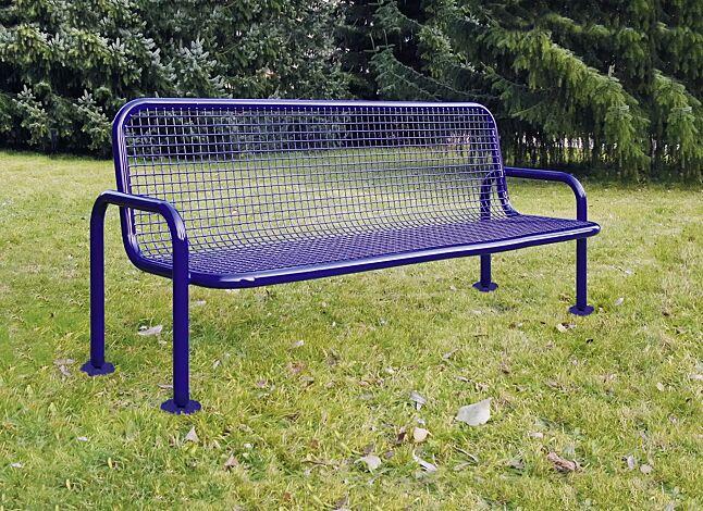 Sitzbank MONZA, 3-Sitzer mit Armlehnen in RAL 5017 verkehrsblau