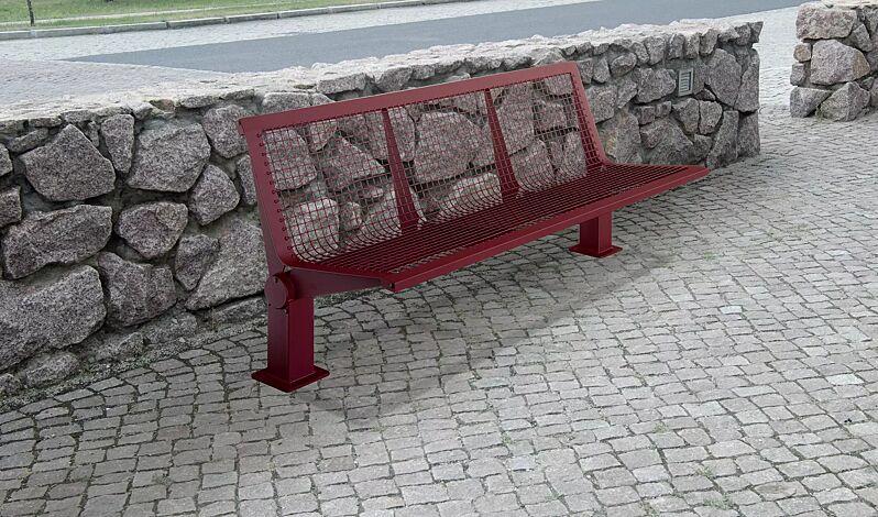 Sitzbank LIGNANO mit Rückenlehne, in RAL 3005 weinrot