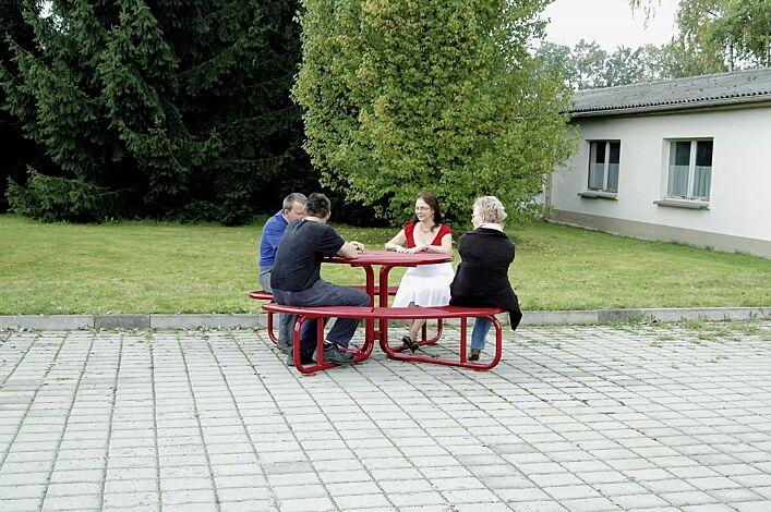 Bank-Tisch-Kombination PAVIA, rund, in RAL 3000 feuerrot