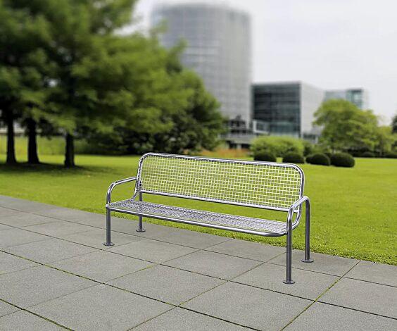 Sitzbank TRAPANI mit Rückenlehne und Armlehnen, Edelstahl V2A